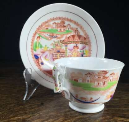London shape cup & saucer, Chinoiserie print, Hilditch, c. 1825-13840