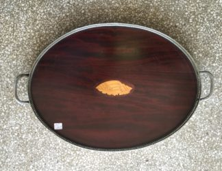 Sheraton oval tray, inlaid shell motif & plated gallery, c. 1900-0