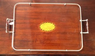 Sheraton rectangular tray, inlayed fan motif & plated gallery, c. 1900-0
