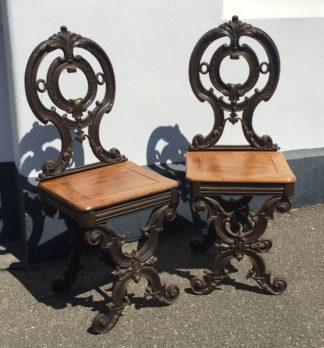 Pair Cast Hall Seats, cedar seats, Melbourne made?  c.1875. -0