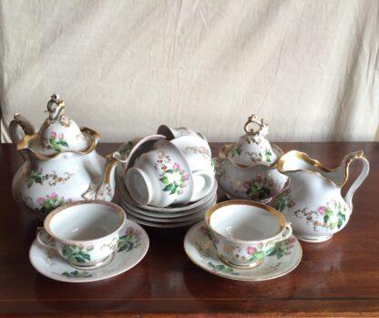 Bohemian porcelain Tea Set, Flowers & Gold, circa 1885-0