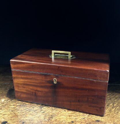 Georgian Mahogany tea caddy, flush brass handle, circa 1820-0