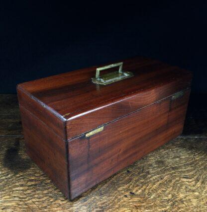 Georgian Mahogany tea caddy, flush brass handle, circa 1820-14217