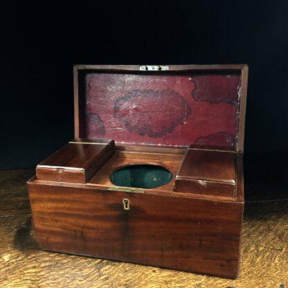 Georgian Mahogany tea caddy, flush brass handle, circa 1820-14219