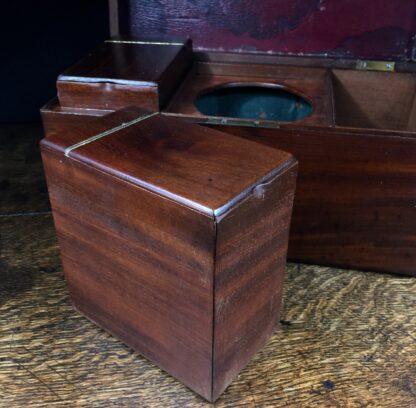 Georgian Mahogany tea caddy, flush brass handle, circa 1820-14220