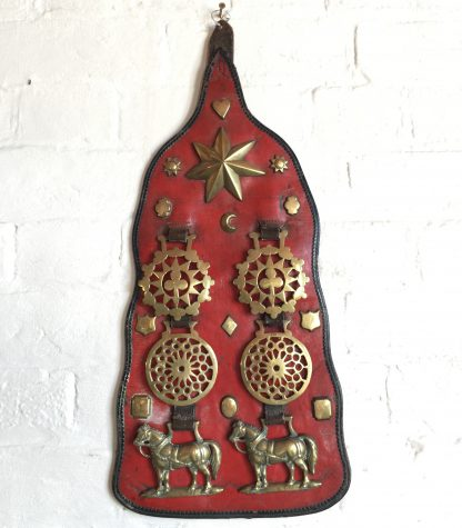 Large Victorian horse brass, 7 on red ground, 19th century-0
