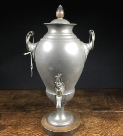 Continental pewter Samovar, Neo-Classical with lyre tap, wood plinth, 19th century-0