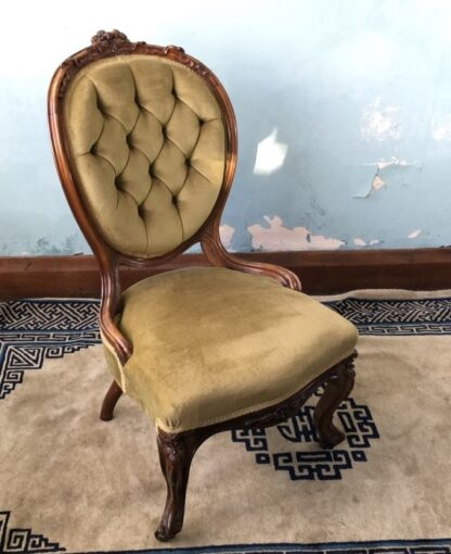 Victorian ladies chair, green buttoned velvet cover, c. 1875-24858