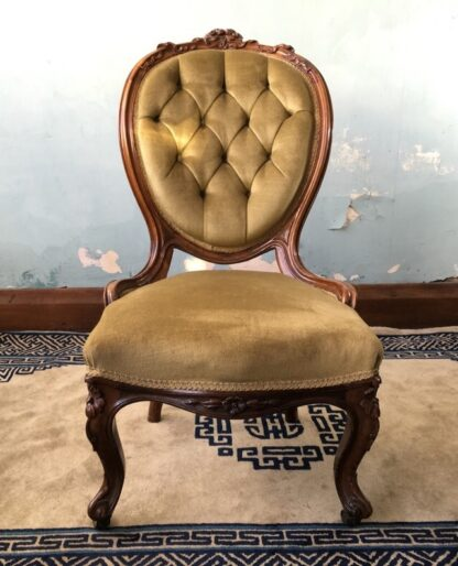 Victorian ladies chair, green buttoned velvet cover, c. 1875-24859