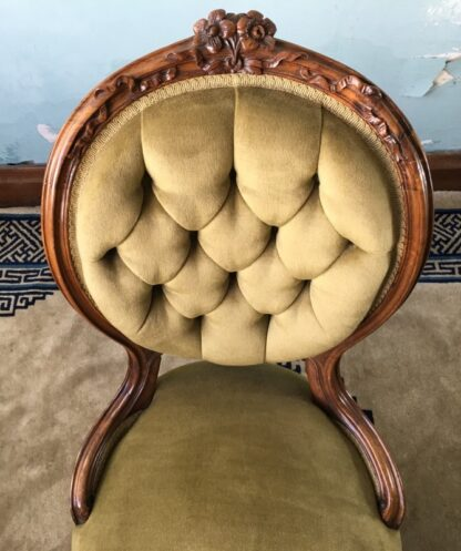 Victorian ladies chair, green buttoned velvet cover, c. 1875-24855