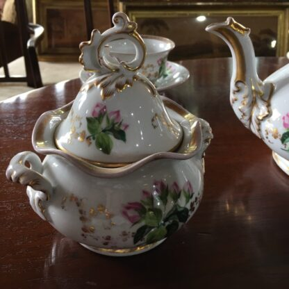 Bohemian porcelain Tea Set, Flowers & Gold, circa 1885-29310