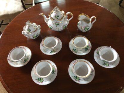 Bohemian porcelain Tea Set, Flowers & Gold, circa 1885-29309
