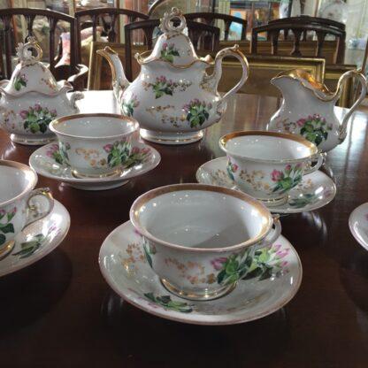 Bohemian porcelain Tea Set, Flowers & Gold, circa 1885-29311