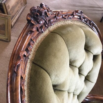 Victorian ladies chair, green buttoned velvet cover, c. 1875-24323