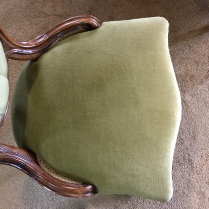 Victorian ladies chair, green buttoned velvet cover, c. 1875-24320