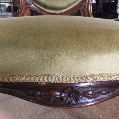 Victorian ladies chair, green buttoned velvet cover, c. 1875-24326
