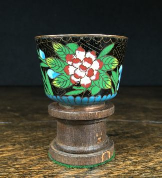 Japanese Cloisonne wine cup, flowers, 19th century-0