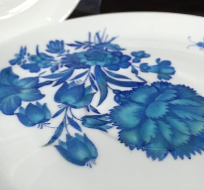 Pair of Minton dishes, turquoise flowers, pat. B308, dated 1873-14466