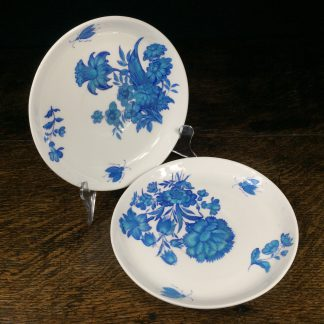Pair of Minton dishes, turquoise flowers, pat. B308, dated 1873-0