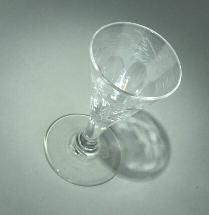 Georgian wine glass with engraved petal moulded bowl, C. 1790 -14547