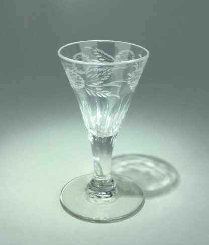 Georgian wine glass with engraved petal moulded bowl, C. 1790 -14548