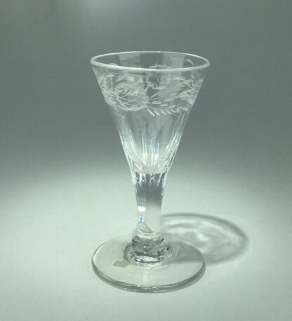 Georgian wine glass with engraved petal moulded bowl, C. 1790 -0