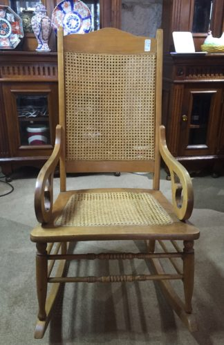 American beech rocking chair with caned seat and back. c.1865-0