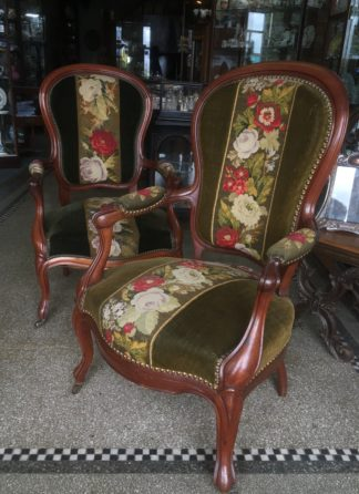 Pair of Victorian arm chairs upholstered in flower embroidery. c 1875 -0