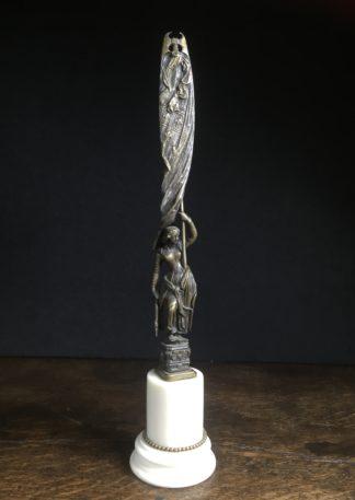 Bronze figure of Joan of Arc on marble plinth, 19th c.-0