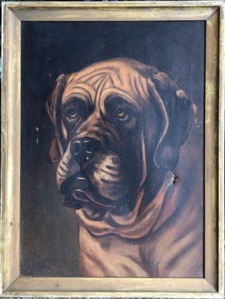 "Original oil on canvas of a St. Bernard, signed ""Millie Owen, 10/2/06""-0"