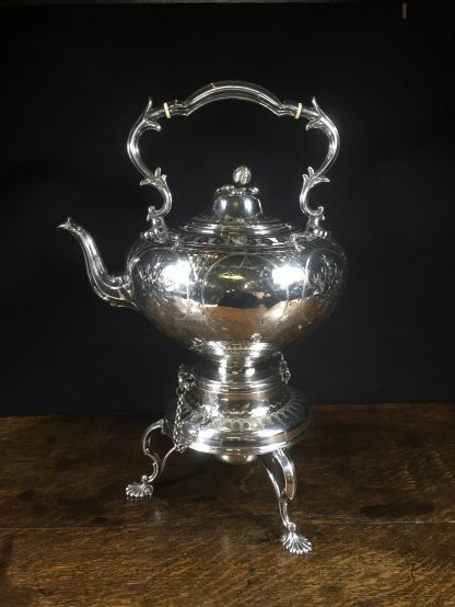 Plated tea urn on stand with burner, c. 1855-0