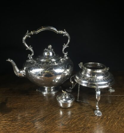 Plated tea urn on stand with burner, c. 1855-14707
