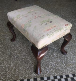 Small Georgian mahogany stool on Queen Anne shaped legs. c. 1740-0