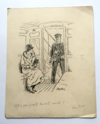 Stair Wood cartoon- What is your favourite bus route, conductor? c.1925-0
