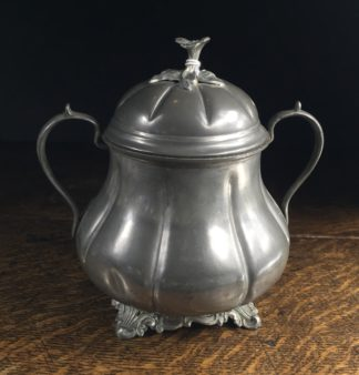 Victorian melon shape Britannia Metal sugar pot. c. 1860-0