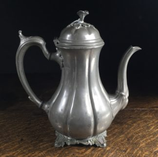 Victorian 'Britannia Metal' melon shape coffee pot, c.1860-0