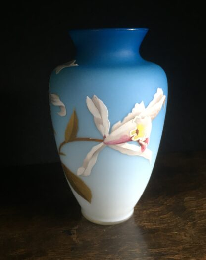 Webb overlay satin glass vase with orchids, c.1885-14859