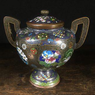 Cloisonné lidded pot with two handles, c. 1895-0