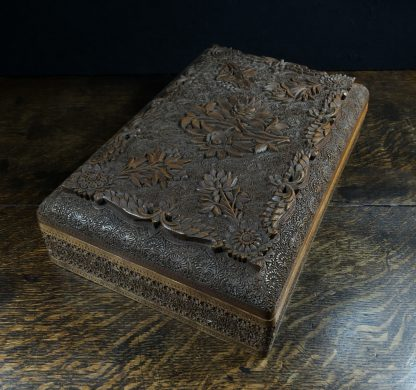 Large Indian box carved with flowers, early 20th century.-0