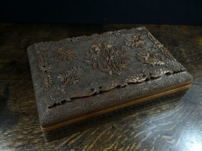 Large Indian box carved with flowers, early 20th century.-14993