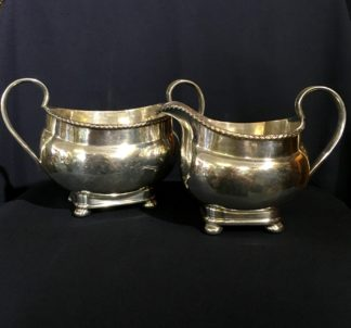 French rolled plate sugar and creamer, Circa 1810-0