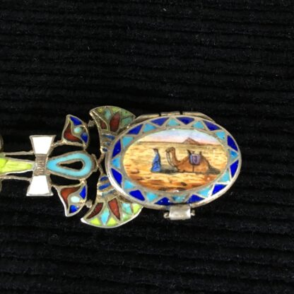 French 'Egyptian' silver spoon, enamelled with the Sphinx, circa 1925-19528