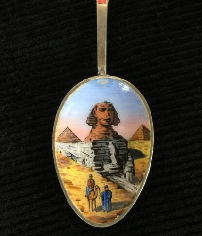 French 'Egyptian' silver spoon, enamelled with the Sphinx, circa 1925-19533