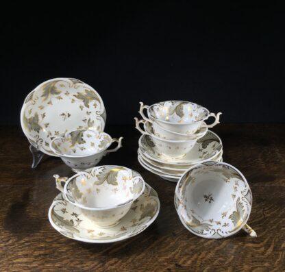 Rockingham tea setting for 6, grey foliage pattern #1168, c.1830-0