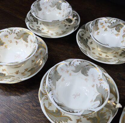 Rockingham tea setting for 6, grey foliage pattern #1168, c.1830-14840