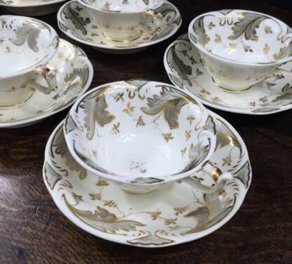 Rockingham tea setting for 6, grey foliage pattern #1168, c.1830-14841