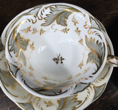Rockingham tea setting for 6, grey foliage pattern #1168, c.1830-14844