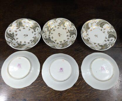 Rockingham tea setting for 6, grey foliage pattern #1168, c.1830-14845
