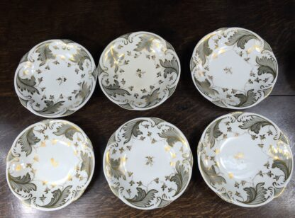 Rockingham tea setting for 6, grey foliage pattern #1168, c.1830-14846