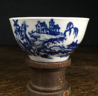 Very Rare Worcester teabowl, '2 Swan Precipice' printed pattern, c. 1757-60-0